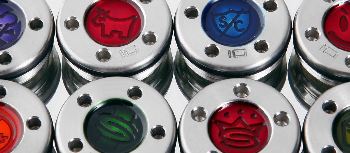 At Scotty's Custom Shop, you can purchase engraved weights in various color schemes.