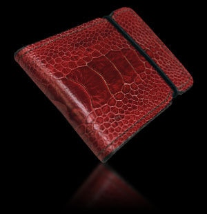 Ostrich Cash Cover - Burgundy