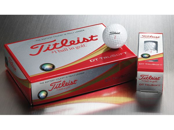 Titleist DT TruSoft Golf Ball with box of dozen golf balls and sleeve of 3 golf balls