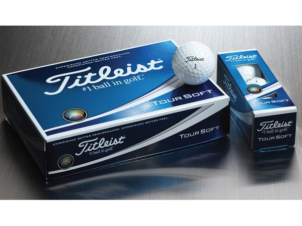 Titleist Tour Soft Golf Ball with box of dozen golf balls and sleeve of 3 golf balls
