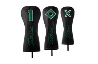 Black and Green Titleist Leather Headcovers