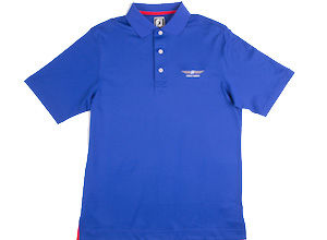 FJ Stretch Pique Ribbon Placket Athletic Fit - Royal Blue + Red/White