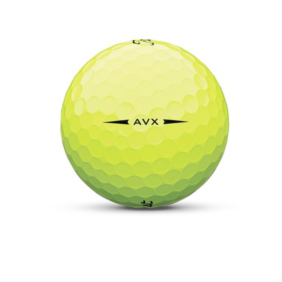 Titleist AVX yellow golf ball sidestamp