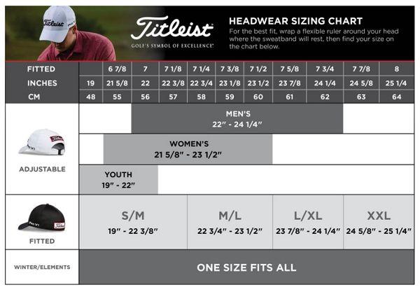 Headwear size chart