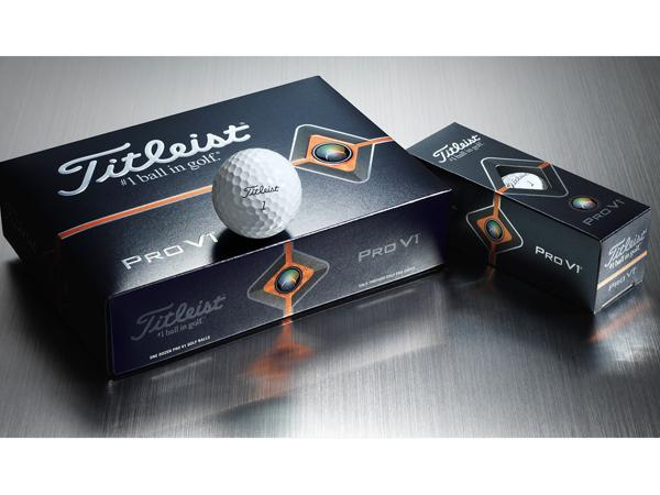 Titleist Pro V1 Golf Ball with box of dozen golf balls and sleeve of 3 golf balls