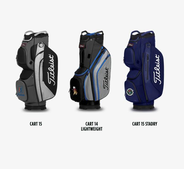 Location Options for Titleist Cart Collection Custom Golf Bags