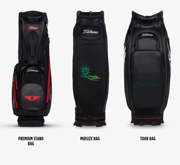 Location Options for Titleist Staff Collection Custom Golf Bags