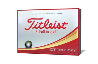 Box of one dozen Titleist DT TruSoft golf balls