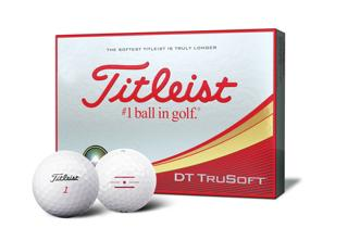 Titleist DT TruSoft Dozen Box with two golf balls, one with alignment aid logo
