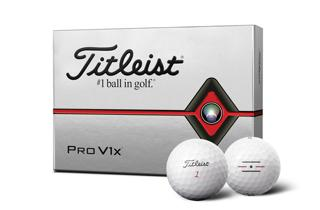 Titleist Pro V1<span>x</span> Dozen Box with two golf balls, one with alignment aid logo