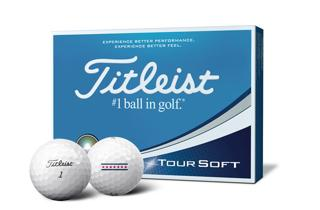 Titleist Tour Soft Dozen Box with two golf balls, one with alignment aid logo