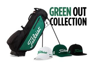 Collection of Green Out Titleist hats and a golf bag