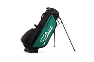 Titleist Players 4+ Stand Bag in Black and Green, with legs deployed
