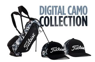 Collection of Digital Camo Titleist hats and a golf bag