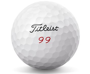 Titleist golf ball with 99 play number