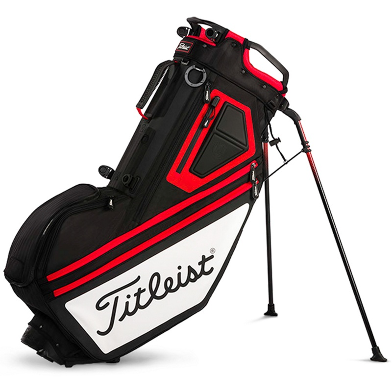 PLAYERS 14 STAND BAG: BLACK/WHITE/RED