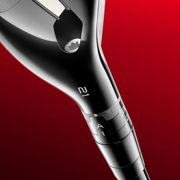 TS Hybrid golf club close up emphasizing the Titleist SureFit Hosel which enables precise club fitting