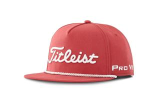 Red and White Titleist Tour Rope Flat Bill Hat
