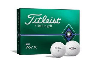 Titleist AVX Dozen Box with two golf balls, one with alignment aid logo