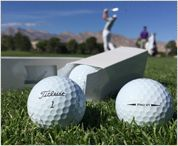 Two Titleist Pro V1 golf balls in grass