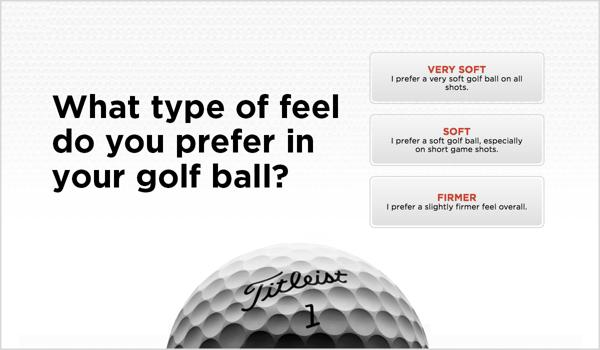 Golf Ball Selector Feel Sample Screen