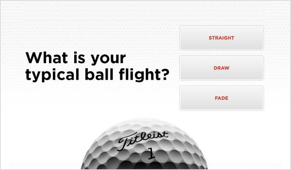Golf Ball Selector Ball Flight Sample Screen