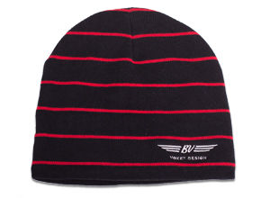 BV Wings Striped Beanie Cap - Black + Red Stripes