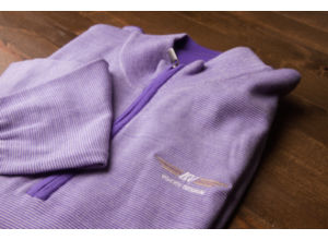 FJ End on End Merino Half-Zip - Violet + White