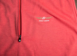FJ Spun Poly Performance Half-Zip Vest - Heather Poppy Red + White