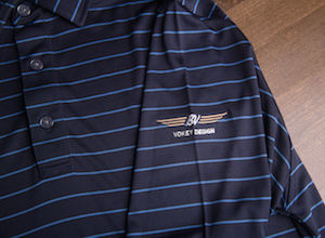 FJ Thermocool Long Sleeve Stripe Self Collar - Navy + Cadet Blue