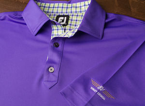 FJ Stretch Pique Solid w/ Self Collar - Violet + Gingham Trim