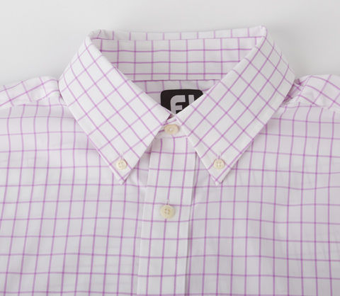 Performance Woven Windowpane Button Down - White/Lavender